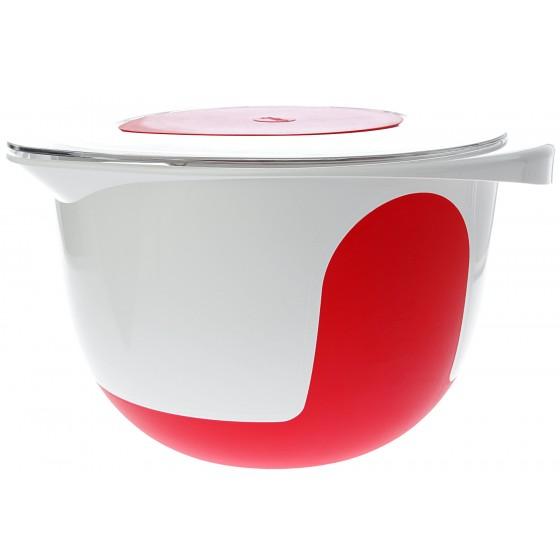 Emsa Mix & Bake Rührschüssel mit Deckel 3,0 l Weiß/Rot